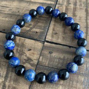 Onyx & Lapis Lazuli Chakra Stretch Bead Bracelet